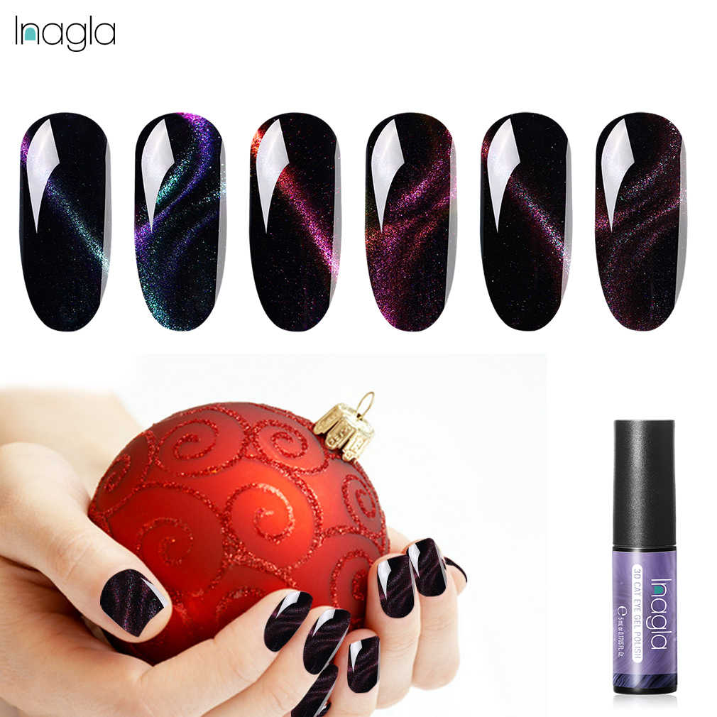 Inagla 5ml Chameleon Cat Eye use with Magnet Gel Nail Polish Black Color Based Shining Gel Nail Polish Nail Painting Gel Varnish