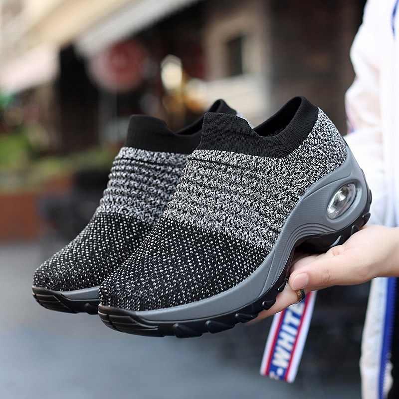 ถุงเท้าผู้หญิงรองเท้า 2019 ฤดูใบไม้ผลิและฤดูร้อนเพิ่ม air เบาะผู้สูงอายุสบายๆเต้นรำรองเท้ารหัส