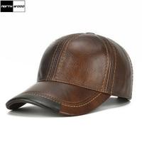 2017 High Quality Genuine Leather Baseball Cap Men Solid Winter Snapback Caps Hip Hop Bone Masculino Trucker Hats