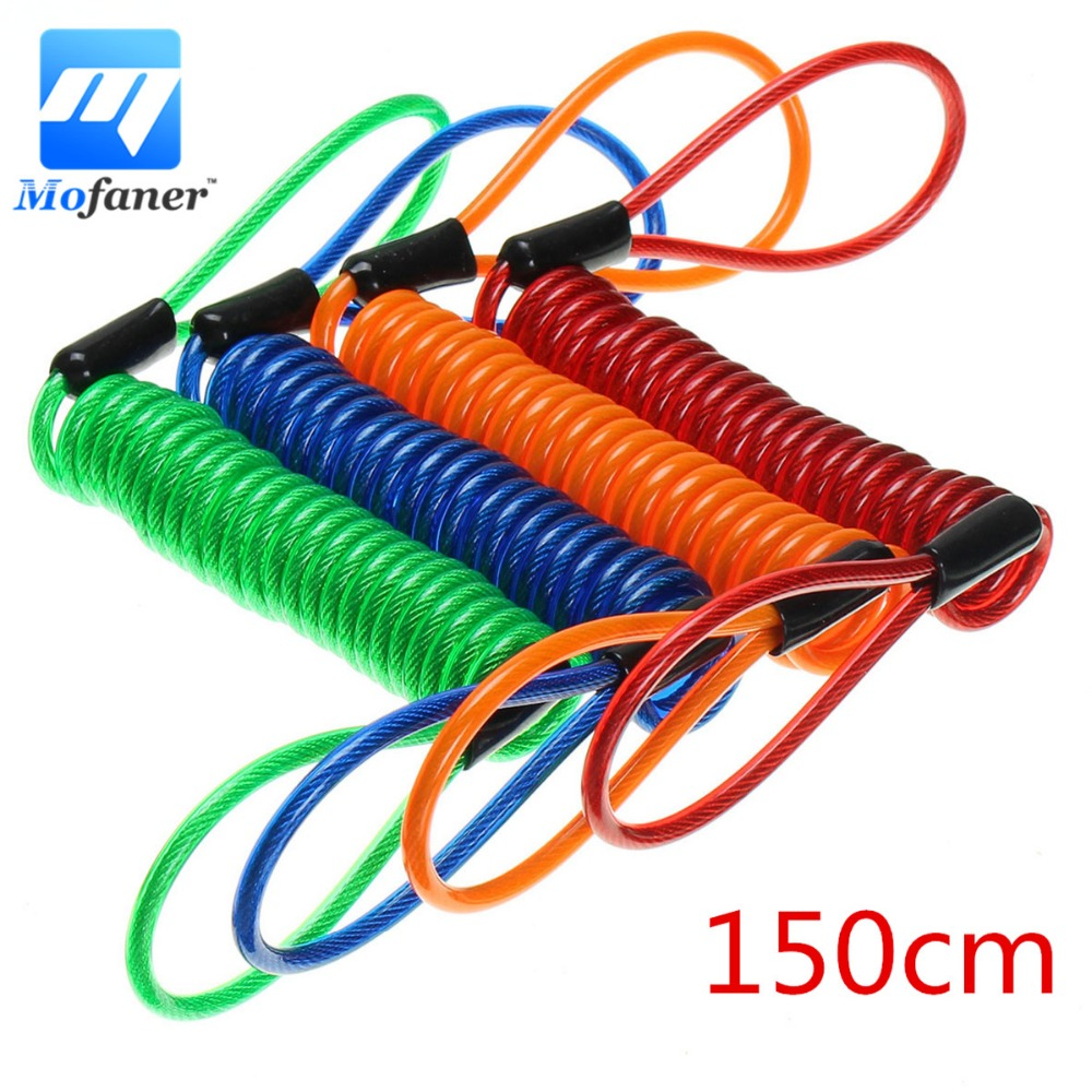 150cm Disc lock security anti thief motorcycle wheel disc brake spring cableVV