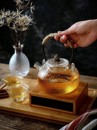 English Afternoon Tea Glass Boiling Teapot High Temperature Teacup Kettle Japanese style Simple Hammer Pattern Beam Pot