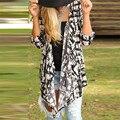 Прочный женщин основные пальто Женщин Нерегулярные Свободные Длинным Рукавом Печатных Кардиган Куртки И Пиджаки Пальто