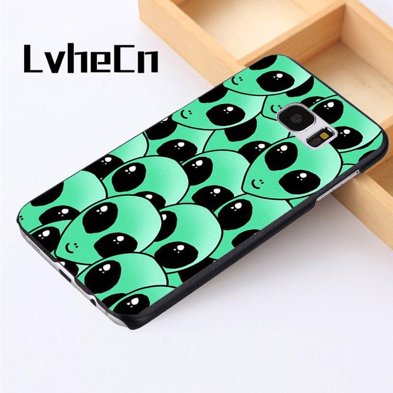 LvheCn phone case cover For Samsung Galaxy S3 S4 S5 mini S6 S7 S8 edge plus Note2 3 4 5 7 8 Alien Martian UFO Head Art