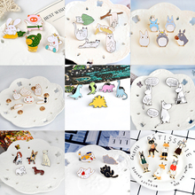 Lovely Animal set Pins Colored Dinosaur Lazy cat Cute dog Totoro Lapel enamel Pin Brooches Couple fox rabbit Badges Jewelry gift