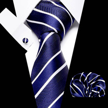 купить New Men Tie Set Striped Plaid Tie and Handkerchief Silk Necktie Man Corbatas Hombre Pocket Square Red Wedding Tie по цене 254.01 рублей