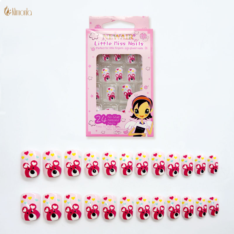 Cute Bear Fake Nails for Kids 24Pcsset  DIY Full Cover Faux Ongles with Pre-glue Short Square Shape Pink False Art Nails DIY