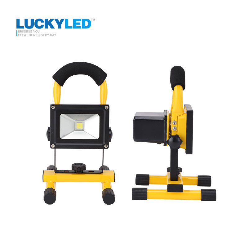 LUCKYLEDBrand Rechargeable LED Flood Light 10W portable Outdoor Spotlight lamp Floodlight Camping Work Light with DC Car Charger car universal mini outlet holder mount w back clip for lg g3 black