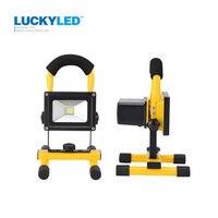 LUCKYLEDBrand Rechargeable LED Flood Light 10W Portable Outdoor Spotlight Lamp Floodlight Camping Work Light With DC