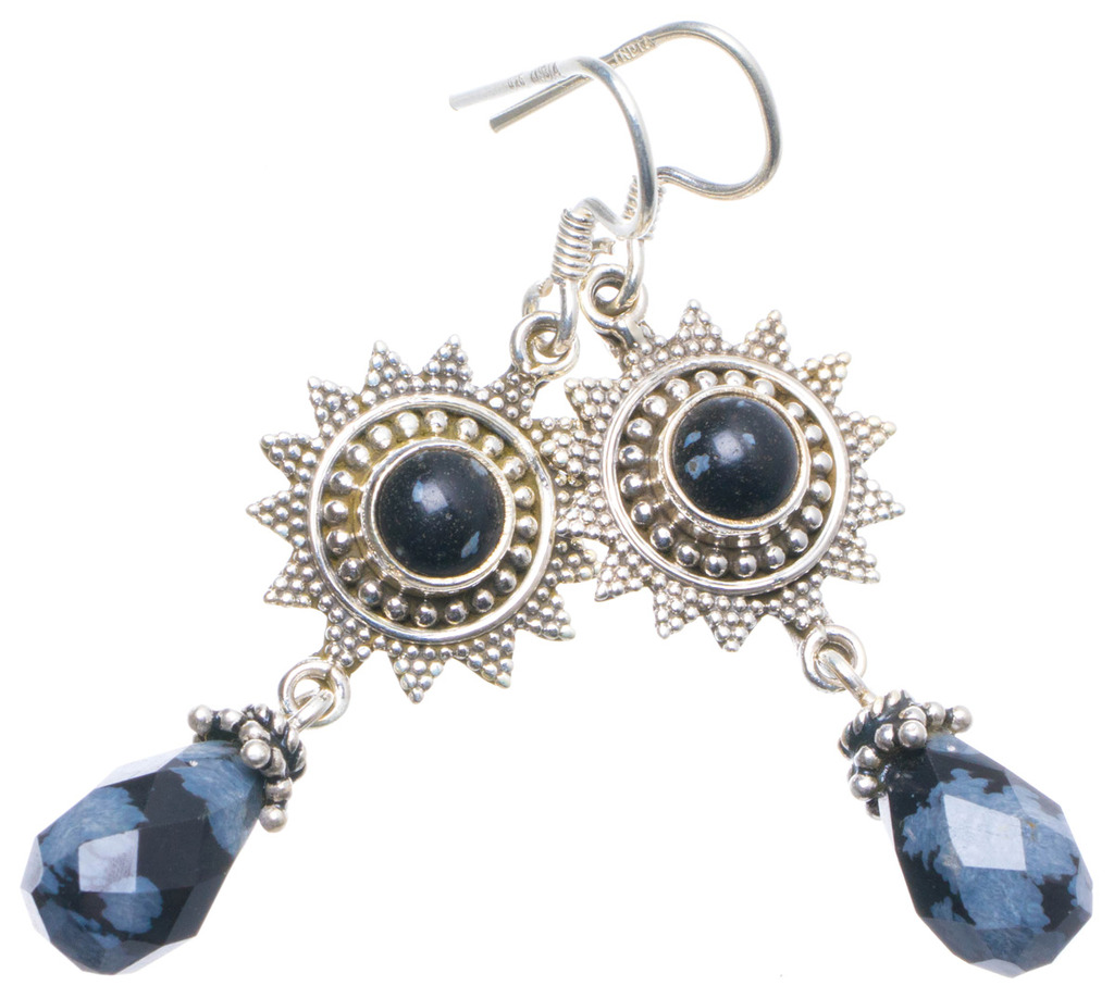 Natural Snowflake Obsidian Handmade Unique 925 Sterling Silver Earrings 2 X4521 motherboard mainboard parts for dell m5030 n5030 n5010 m5010 n5040 v1440 cn 03pddv full tested laptop motherboard