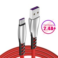 1 / 2 Meters Type C Data Cable 2.4A Quick Charge Zinc Alloy Connector Cord