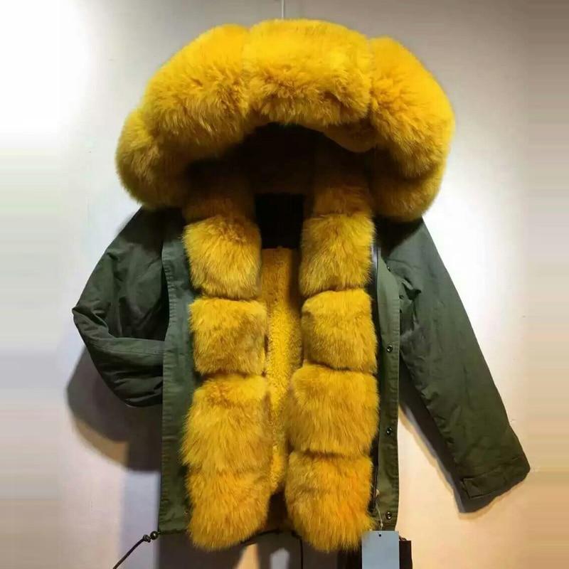 New Arrival design short style Yellow fox fur hood Luxury Cuff fox fur jacket parka