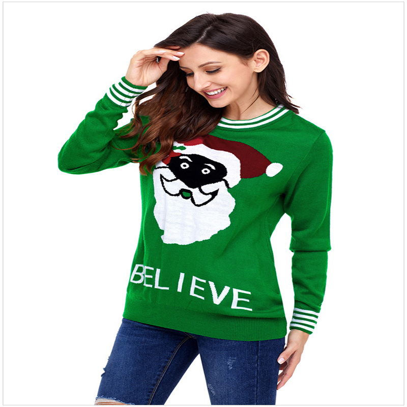 New winter Santa Claus round neck long sleeve plus size women's sweater crop sweater