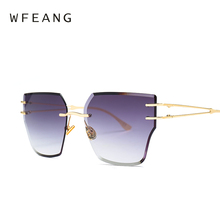 WFEANG 2019 Sunglasses Women Luxury Cat eye Brand Design Rimless Vintage Cateye Fashion sun glasses lady Eyewear UV400