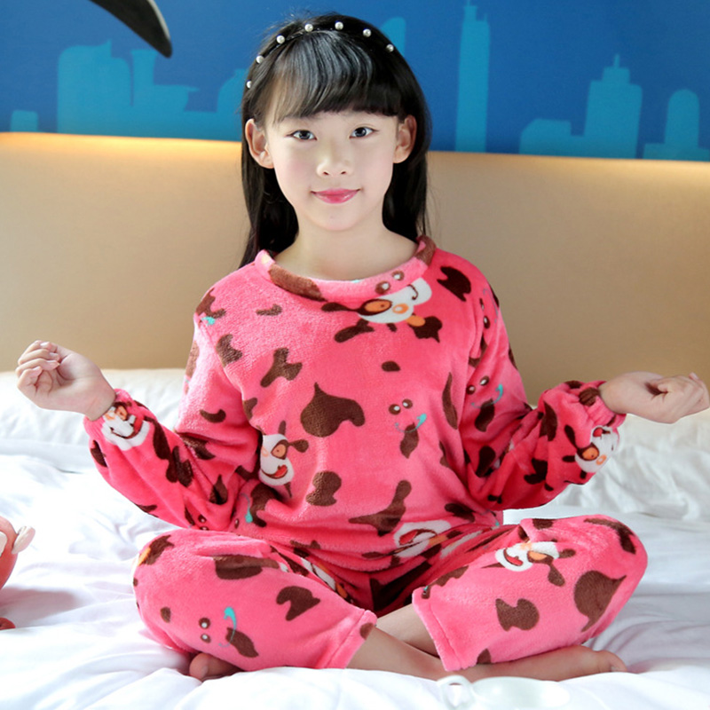 Cheap Cow Red Childrens Pajamas Set 2018 Winter Warm Flannel Cartoon Cute O-neck Soft Sleepwear Suit Boys/Girls/Child Clothes