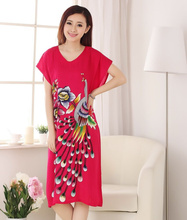 Novelty Chinese Women's Cotton Bath Robe Nightgown Lady Summer Printed Night Gown Nuisette Pijama Mujer One Size R24028