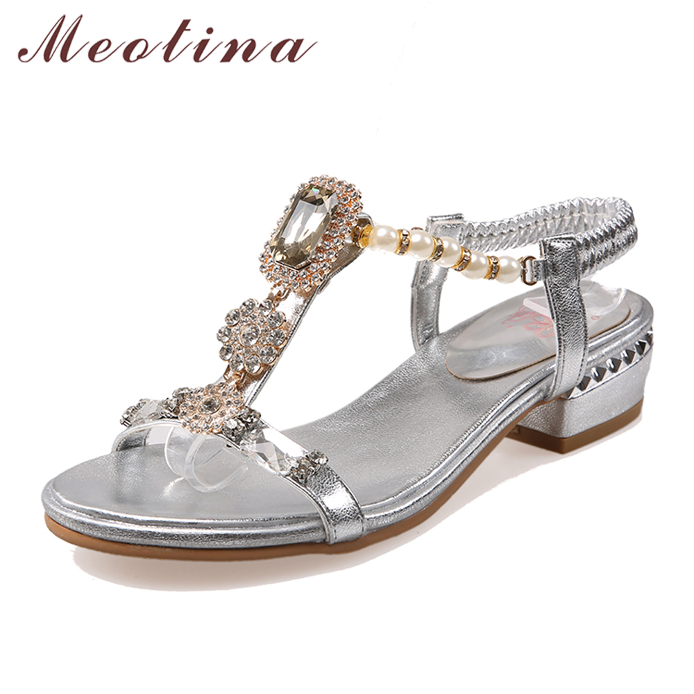 Meotina Shoes Women Sandals Rhinestone Sandals Luxury Shoes 2018 Beading Summer Sandals Chunky Low Heels Gold Wedding Shoes meotina shoes women sandals rhinestone sandals luxury shoes 2018 beading summer sandals chunky low heels gold wedding shoes