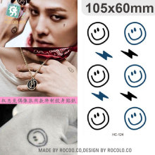 Water Transfer Temporary Tattoo Stickers Bigbang G-dragon Cartoon Smile And Lightning Fake Tattoo Women Finger Kawaii Tattoo
