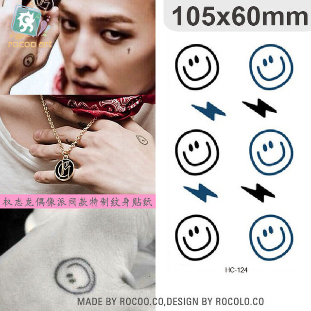 Water Transfer Temporary Tattoo Stickers Bigbang G-dragon Cartoon Smile And Lightning Fake Tattoo Women Finger Kawaii Tattoo