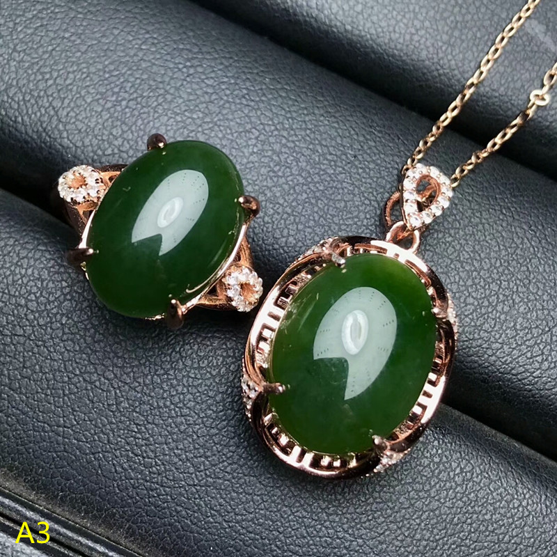 KJJEAXCMY Boutique jewels 925 pure silver inlaid natural and Tian jade jade female pendant pendant ring 2 sets of gold.