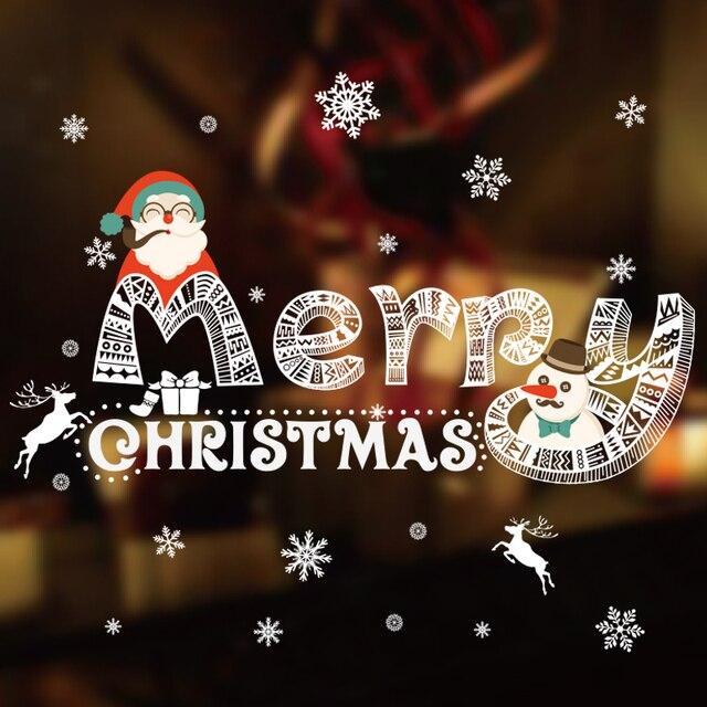 Adesivi Buon Natale.Us 8 44 35 Di Sconto Buon Natale Da Parete Adesivi Finestra Di Vetro Negozio Centri Commerciali Decorazione Scena Puntelli Home Office Festival