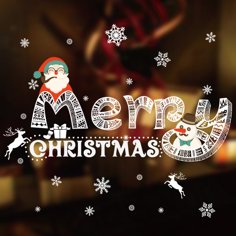 Merry Christmas Wall Stickers Glass Window Store Shopping Malls Decoration Scene Props Home Office Party Festival Decoration