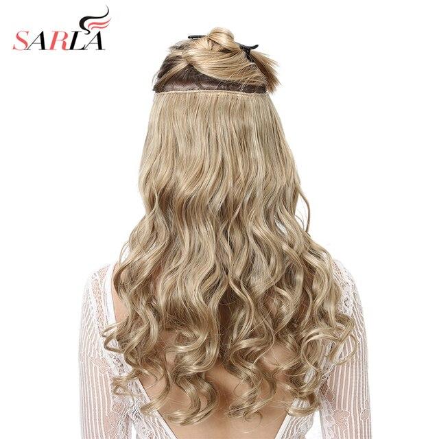SARLA 10 יח\חבילה ברזילאי 5 קליפים בתוספות שיער עמוק גל ארוך סינטטי פאה טמפרטורה גבוהה 888 משלוח חינם