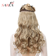 SARLA 10pcs/Lot Brazilian 5 Clips In Hair Extensions Deep Wave Long Synthetic High Temperature Hairpiece 888 Free Shipping