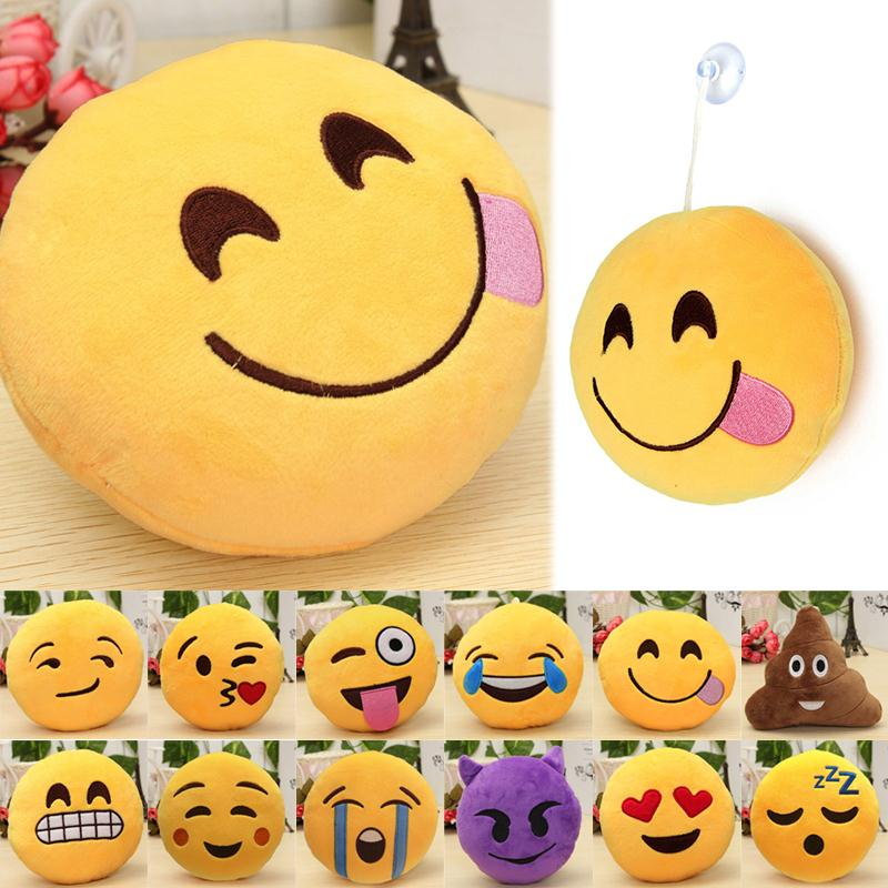 "6 ""Smiley Face Emoji Puder Soft Plush Emoticon Runde Pude Boligindretning Cute Cartoon Toy Doll Dekorative Kaste Puder"