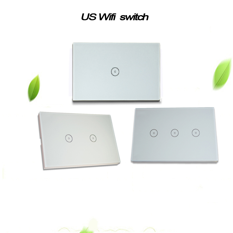 Work with Amazon Alexa Wall Switch Smart Wi-Fi Switch Glass Panel smart mobile control via App 1/2/3gang US Touch Light wall smart home us black 1 gang touch switch screen wireless remote control wall light touch switch control with crystal glass panel