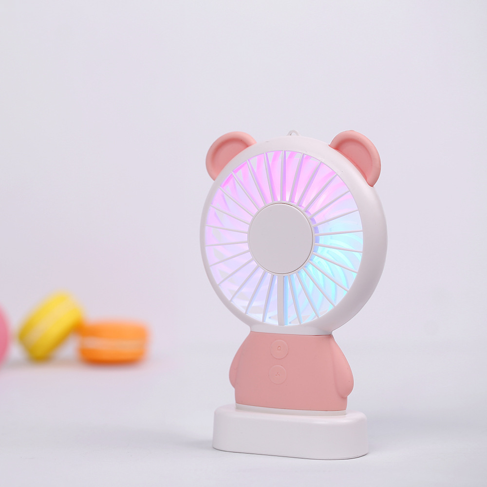 Summer Mini Fan Usb Colorful Light Handheld Fan 800mah Battery With Rope Portable Fan 6 Colors Small Air Conditioning Appliances Household Appliances