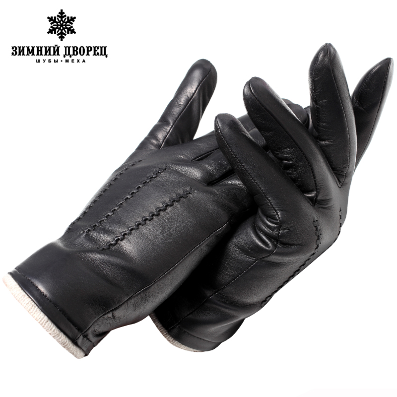 Genuine Leather Gloves Male Gloves Fashion Leather Vintage Driving Gloves Top Grade Gloves Winter Black Weatherization