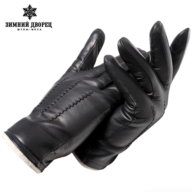 Genuine Leather gloves male gloves Fashion leather Vintage driving gloves Top Grade gloves winter black Weatherization