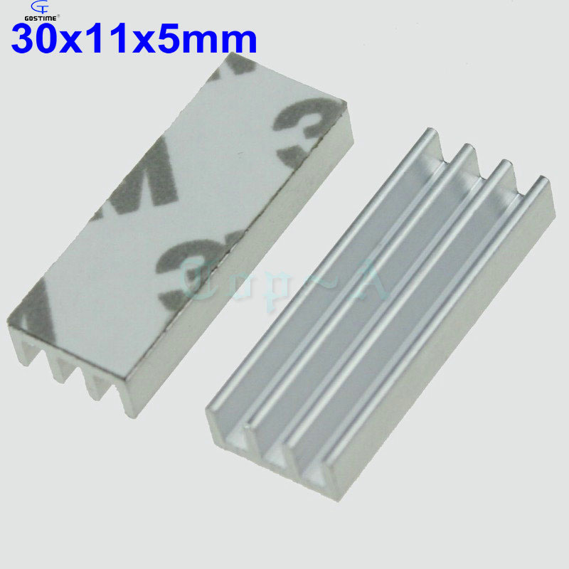 Gdstime 30pcs Silver 30x11x5mm Aluminum Heatsink Cooler Radiator with 3M Tape Heat Sink 30mm x 11mm x 5mm For Chip Electronic 20pcs lot aluminum heatsink 14 14 6mm electronic chip radiator cooler w thermal double sided adhesive tape for ic 3d printer