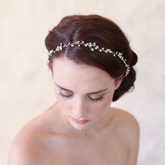SLBRIDAL Vintage Simple Clear Crystals Wedding Hair Vine Bridal Headpiece Headband Hair Accessories Bridesmaids Headdress Women