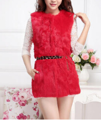 Лучшее качество, натуральный кроличий мех, жилет для женщин, модный натуральный кроличий мех, жилетка, фабричная, опт и розница, TFP950 - Цвет: Red