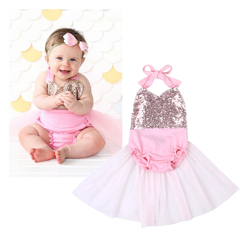 f09798a7f2a 1Pcs Baby Girls Sequin Lace Romper Newborn kids Summer Romper Tutu Dress  Jumpsuit Lace Playsuit Outfits Toddler Clothes DS40-in Rompers from Mother    Kids ...