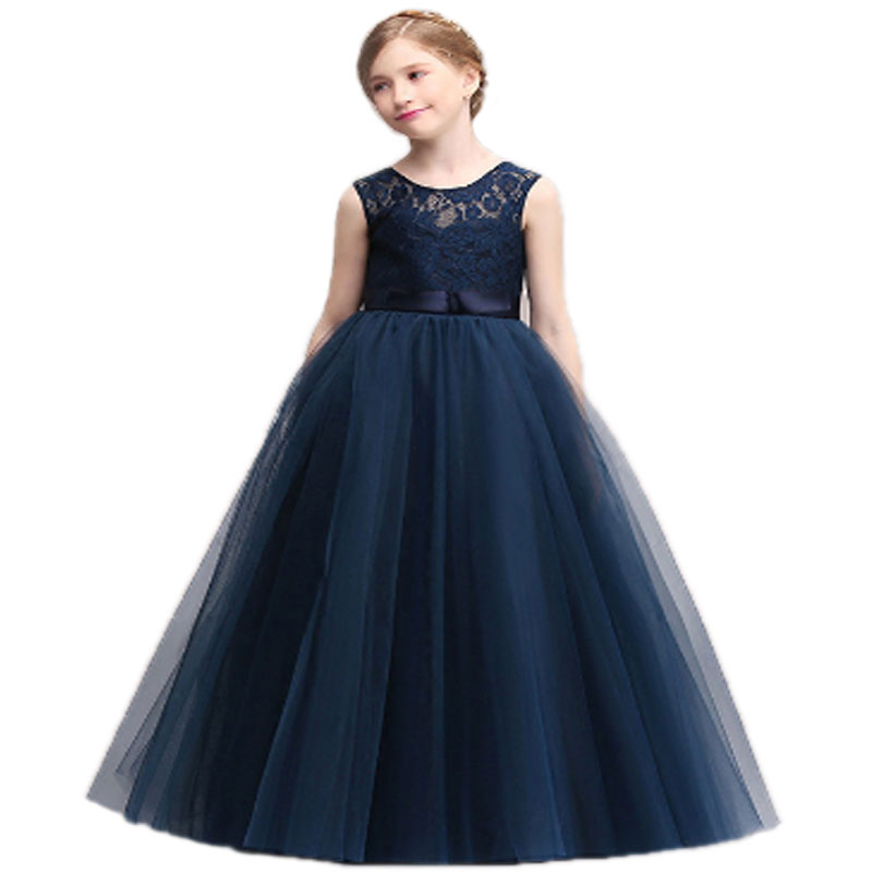 Girls Dress School For Party And Wedding Summer 2017 Children Evening Dresses Kids Princess Lace Flower Age 10 size120 to 170 summer dresses for girls 2016 kids clothes evening party princess dress children flower wedding vestido coat 2 piece set