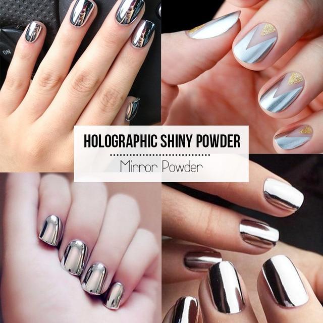 Fashion Silver Color Uv Nails Mirror Powder Nail Art Design Chrome Glitter Pigment Sequins Decorations