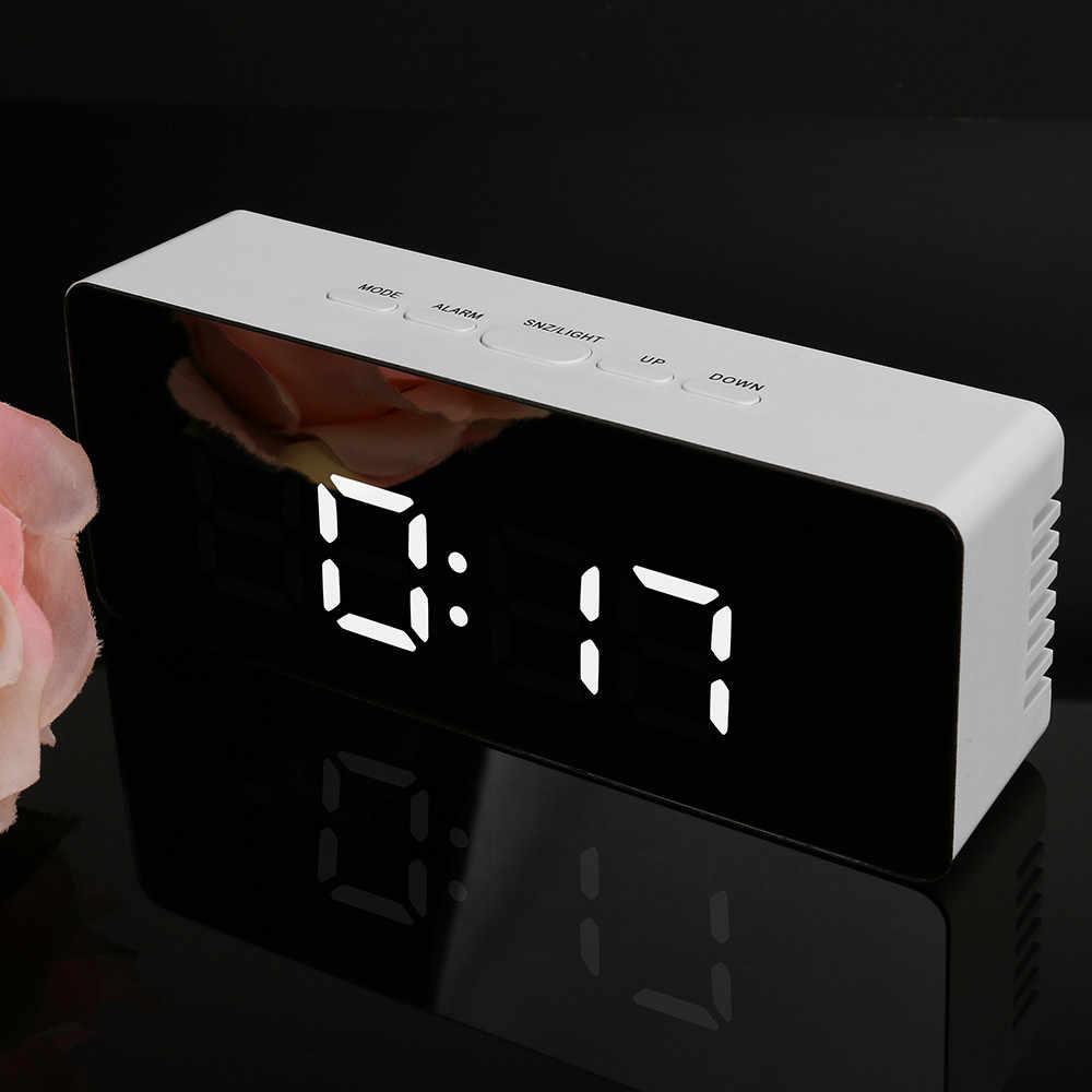 100% абсолютно новое зеркало высокого качества светодиодный Будильник Многофункциональный цифровой Электронный температурный Будильник-часы для дома Прямая доставка
