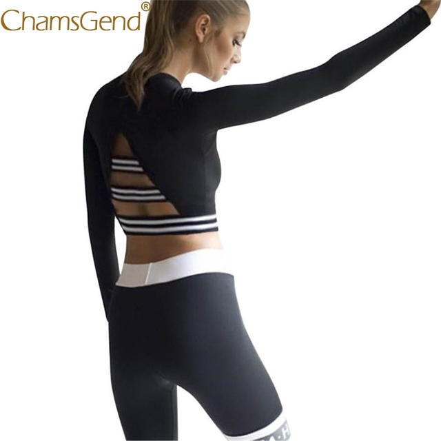 dc48fc5316167 Chamsgend Women Shirt Crop Top Striped Backless Stretch Fit Long Sleeve T- Shirt For Body Train Dance Exercise 80202