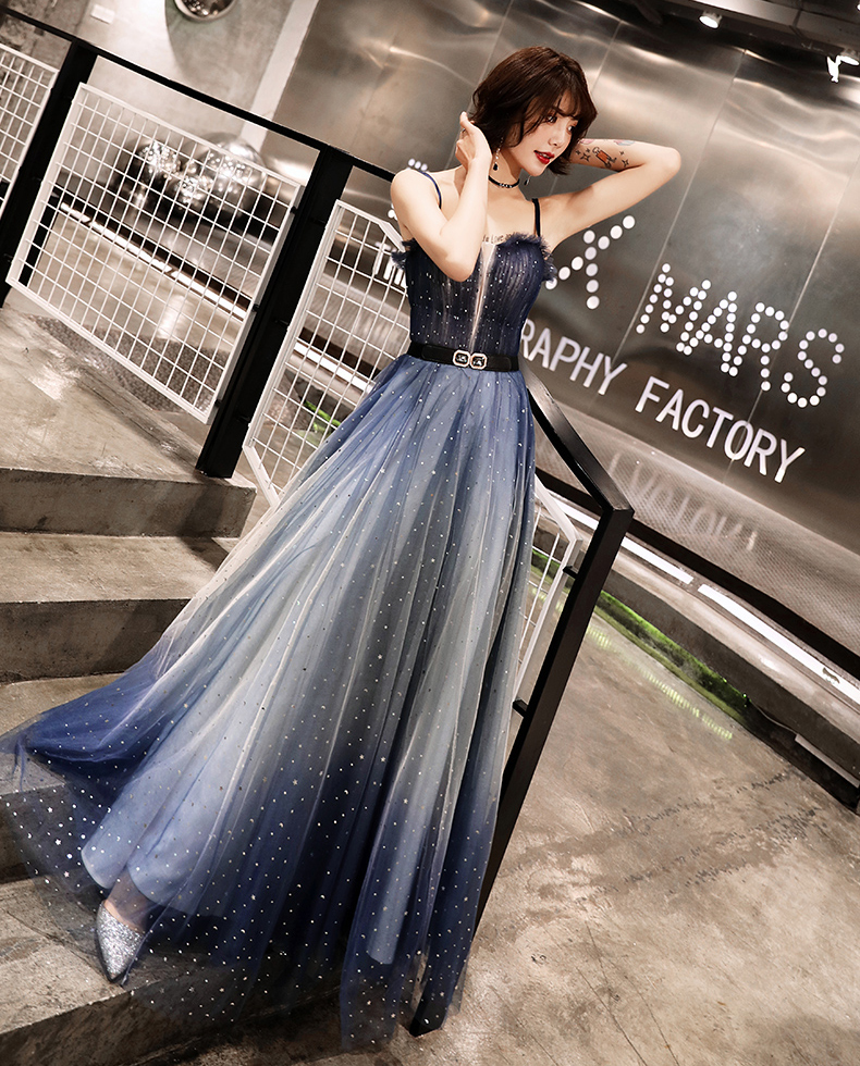 YIDINGZS Navy Tulle Pleat Long Evening Dress Straps Elegant Party Dress With Belt