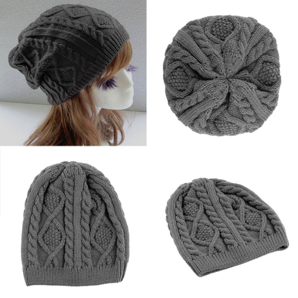 New Fashion Unisex Women Men Winter Warm Knitted Crochet Baggy Beanie Hat Cap Hot Sale hot sale unisex winter plicate baggy beanie knit crochet ski hat cap
