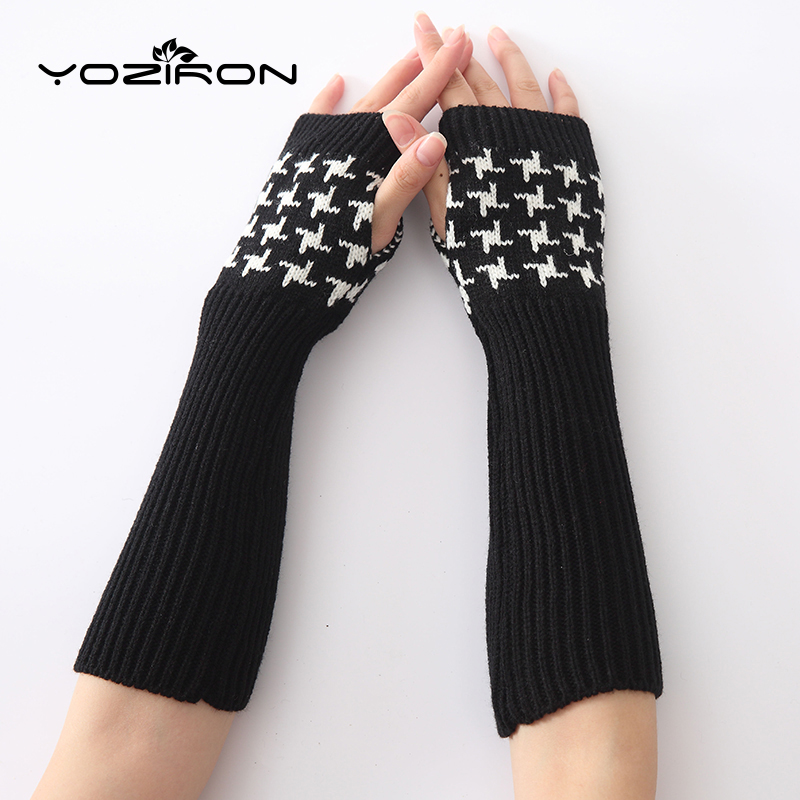YOZIRON New Women 2 Colors Embroidered Winter Arm Warmers Sleeves Arms For Woman Fingerless Gloves Arm Warmer
