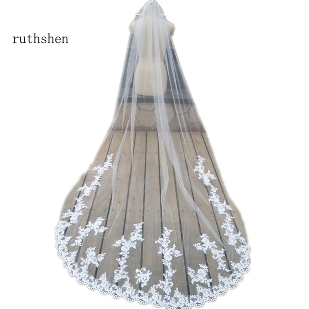 d009b204da Ruthshen Catedral de marfil blanco velos de novia de longitud con Apliques  de encaje de novia
