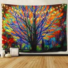 Fashion Tapestry Colorful Tree Tapestry Wall Hanging Psychedelic Forest with Birds Mandala Hippie Wall Tapestry for Bedroom wall hanging forest tree print tapestry