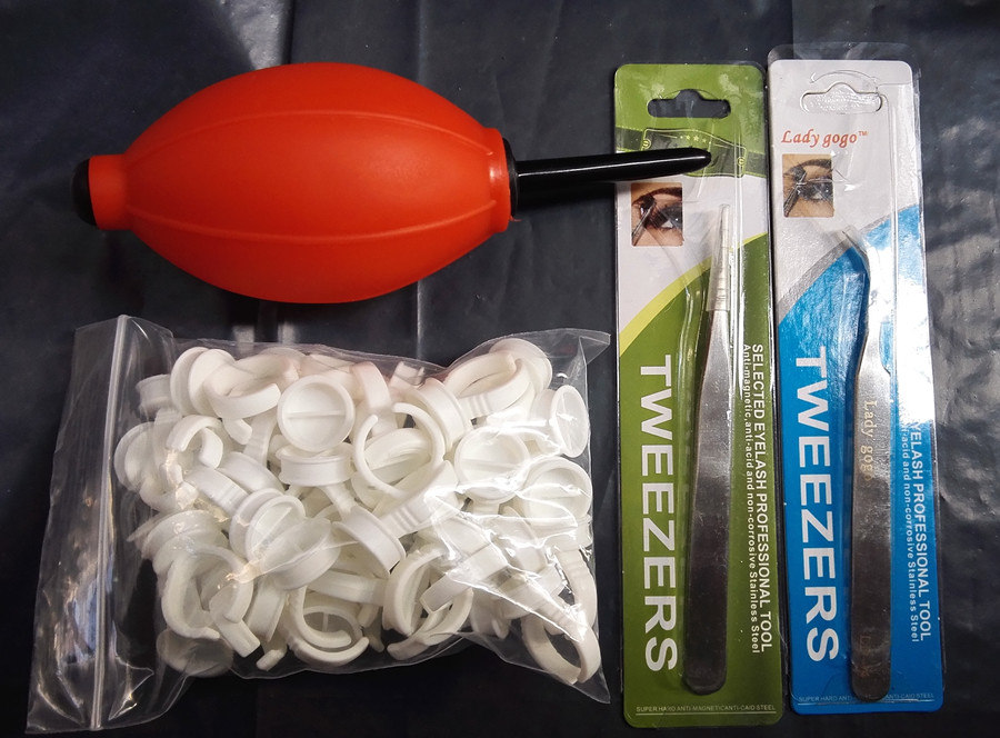 Individual Eyelash Extension Kit 1 Red Air Blower Rubber 50pcs Glue Ring Adhesive 2pcs Stainless Steel