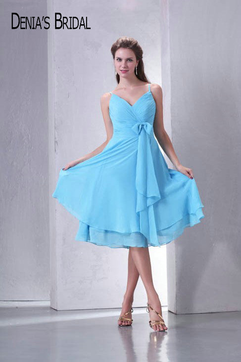Real Photos Sweetheart Knee Length Chiffon Prom Dresses Bow Pleats A Line Short Party Gowns