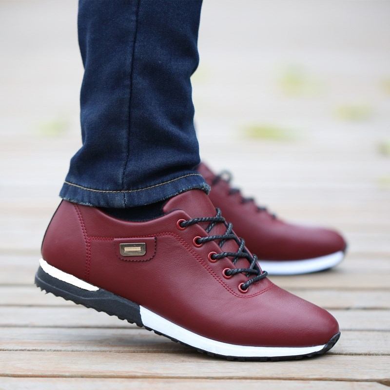 Men's New Leather Casual Shoes Korean Youth Leather Waterproof Sports Shoes Non-slip Breathable Deodorant Shoe MenZZXP3 CD