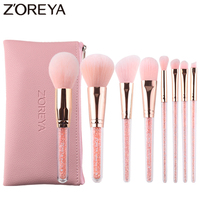 Zoreya Brand 8Pcs Pink Crystal Makeup Brush Set Eye Shadow Flawless Concealer Crease Eyebrow Foundation Brushes