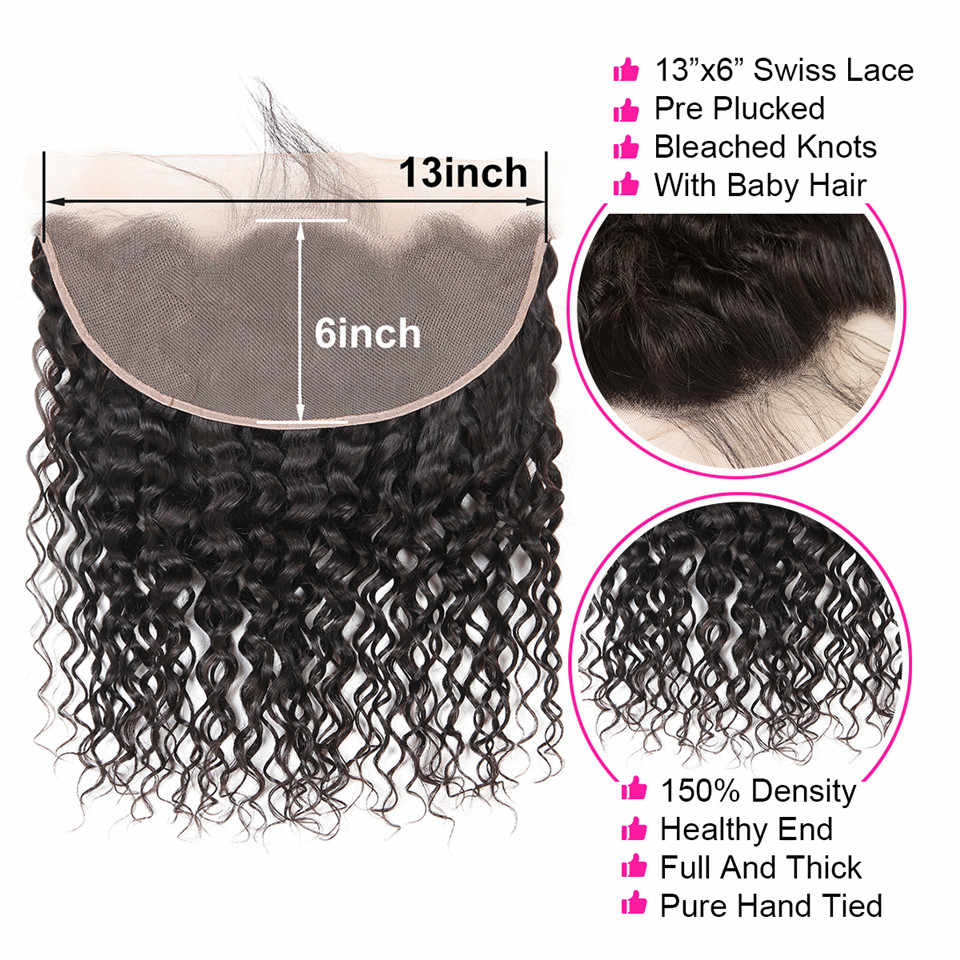 Wiggins Hair 13x6 Lace Frontal With Bundles Peruvian Water Wave 3 Bundles With Frontal 13x6 Closure Remy Human Hair Extension